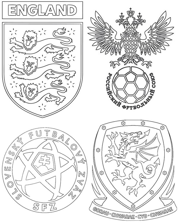 Coloriage Foot Russie.Coloriage Euro 2016 Football Groupe B Angleterre Russie