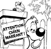 Coloriage Attention, Chien marrant!