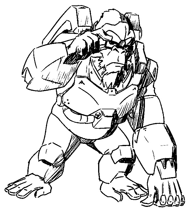 Coloriage Overwatch Winston 8