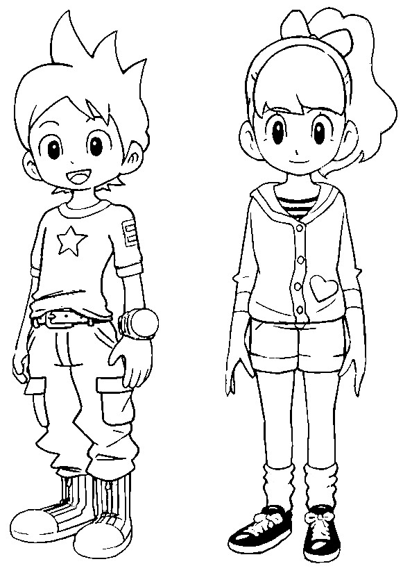 Coloriage yo kai watch nathan adams katie forrester 10 for Yo kai watch coloring pages