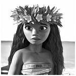 Coloriage Vaiana avec sa couronne de fleurs