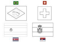 Coloriage Groupe E: Brésil - Suisse - Costa Rica - Serbie