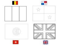 Coloriage Groupe G: Belgique - Panama - Tunisie - Angleterre