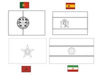Coloriage Groupe B: Portugal - Espagne - Maroc - Iran