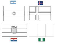 Coloriage Groupe D: Argentine - Islande - Croatie - Nigéria