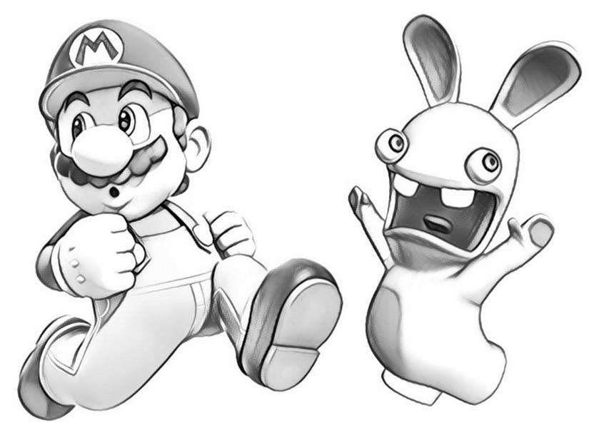 Coloriage Lapins Cretins Lapin Crétin Et Super Mario 10