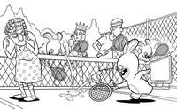 Coloriage Les Lapins Crétins jouent au tennis