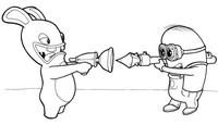 Coloriage Lapin Crétin contre Minion