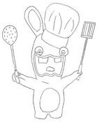 Coloriage Lapin Crétin fait la cuisine