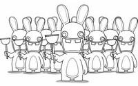 Coloriage Les Lapins Crétins avec leur pistolet ventouse