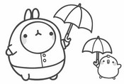 Coloriage Molang et Piu-Piu sous la pluie