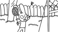 Coloriage Simon joue au badminton
