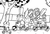Coloriage Simon fait du vélo avec ses amis