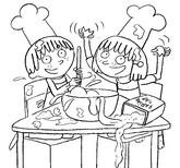 Coloriage Sami et Julie font des crêpes
