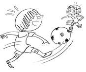 Coloriage Sami et Julie jouent au foot