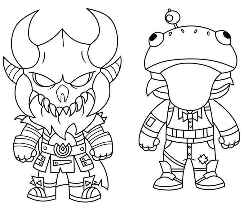 Coloriage Fortnite Mini Cute The Dark Viking Et Mini Frog 3