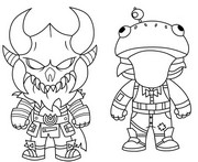Coloriage Mini Cute The Dark Viking et Mini Frog