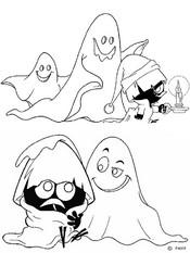 Coloriage Calimero et les fantômes