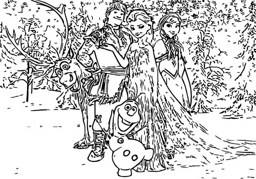 Coloriage La Reine Des Neiges 2 Anna Elsa Olaf Kristoff Et Sven 5