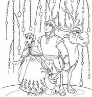 Coloriage Elsa, Kristoff, Olaf et Sven