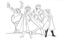 Coloriage Anna, Elsa, Kristoff et Sven