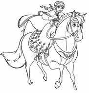 Coloriage Elsa à cheval
