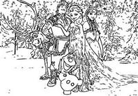 Coloriage Anna, Elsa, Olaf, Kristoff et Sven