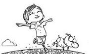 Coloriage Victor court avec Paf le chien