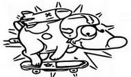 Coloriage Paf le chien sur son skate