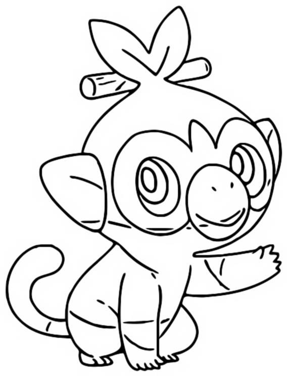 Coloriage Pokemon Epee Et Bouclier Ouistempo Pokemon Chimpanze 3