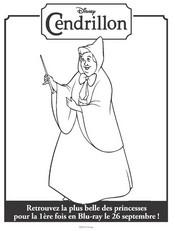 Coloriage Marraine, la bonne fée de Cendrillon
