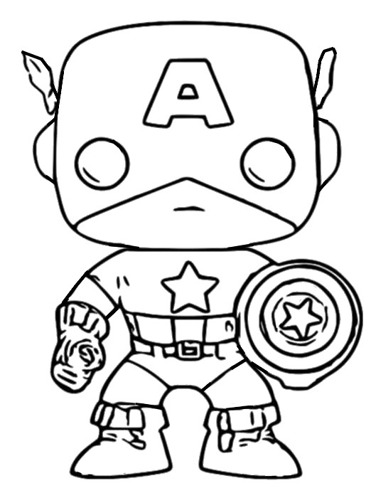 Coloriage Funko Pop Marvel Captain America 6
