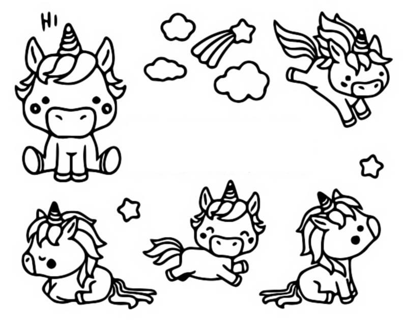 Coloriage Kawaii : Licornes 10