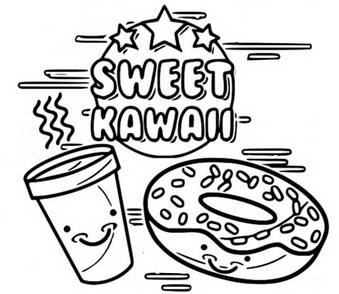 Coloriage Kawaii Sweet Kawaii 6
