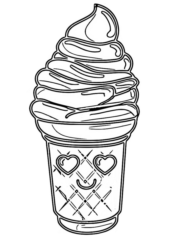 Coloriage Kawaii Crème Glacée 8