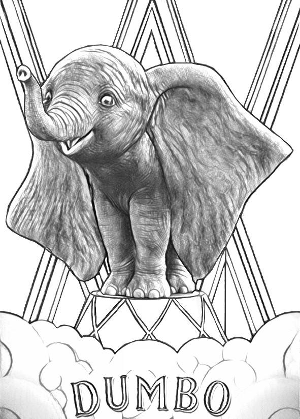 Coloriage Dumbo Dumbo Tim Burton 1