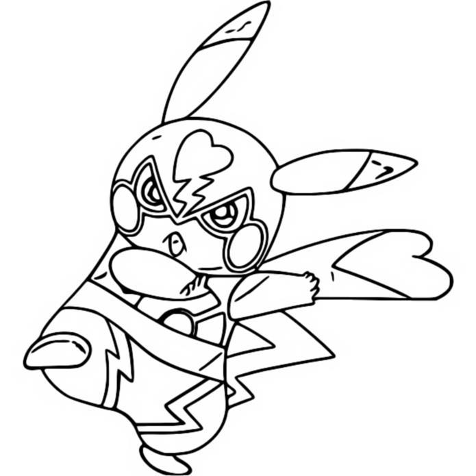 Coloriage Pokémon Pikachu : Pikachu Libre 2