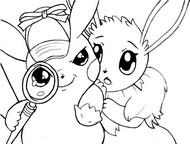 Coloriage Détective Pikachu et Evoli