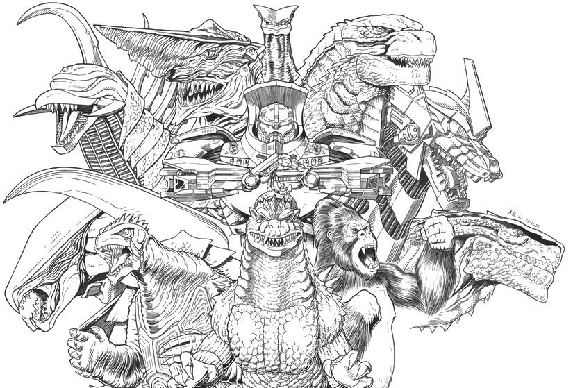 Coloriage Godzilla : Godzilla, King-Kong et Gamera 12
