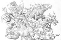 Coloriage Equipe de Godzilla