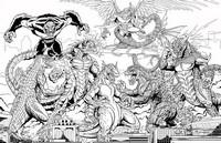 Coloriage Bataille de Kaiju