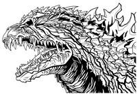 Coloriage Tête de Godzilla