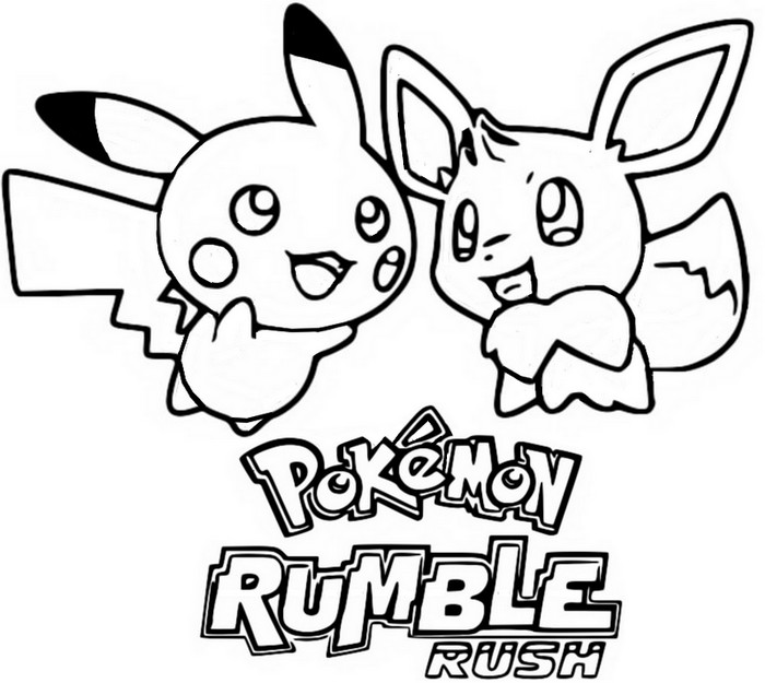 Coloriage Jeux Pokemon Sur Mobile Pikachu Et Evoli Pokemon Rumble
