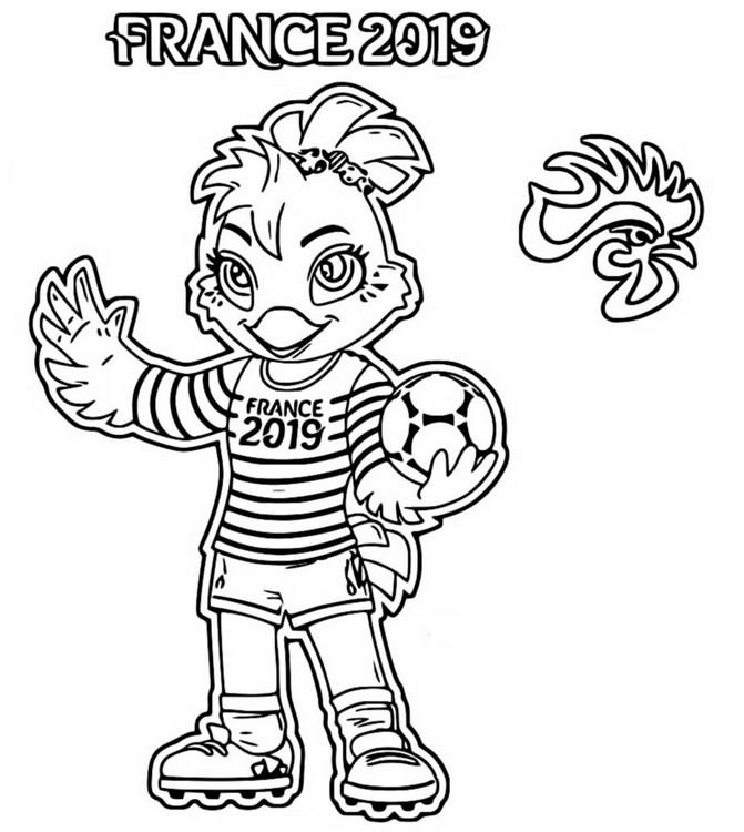 Coloriage Coupe Du Monde De Football Feminin 2019 Mascotte France 2019 5
