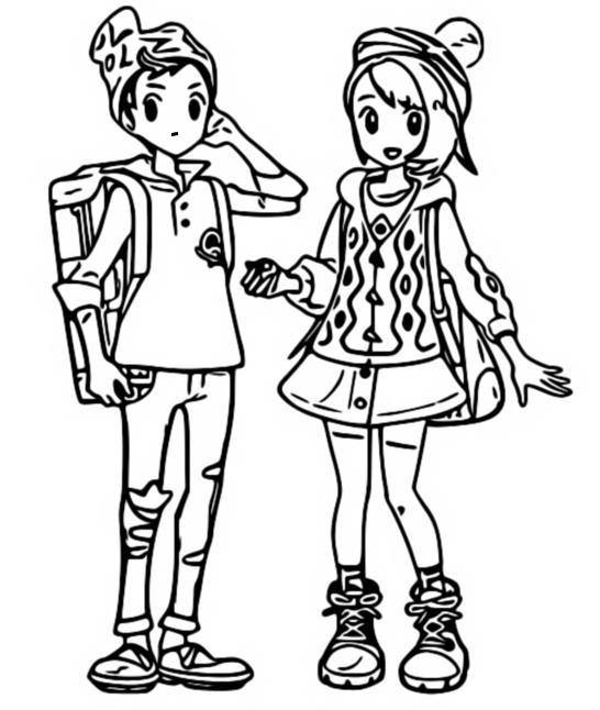 Coloriage Pokemon Epee Et Bouclier Les Habitants De Galar Personnages Principaux 3