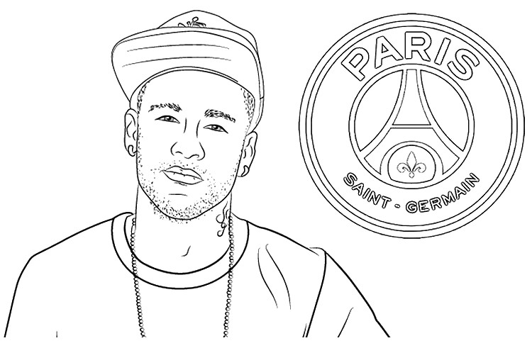Coloriage Neymar Jr. - PSG - Ligue des Champions 2020