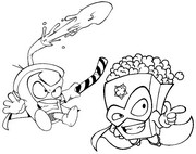 Coloriage Pop Corn vs Sugar Rush