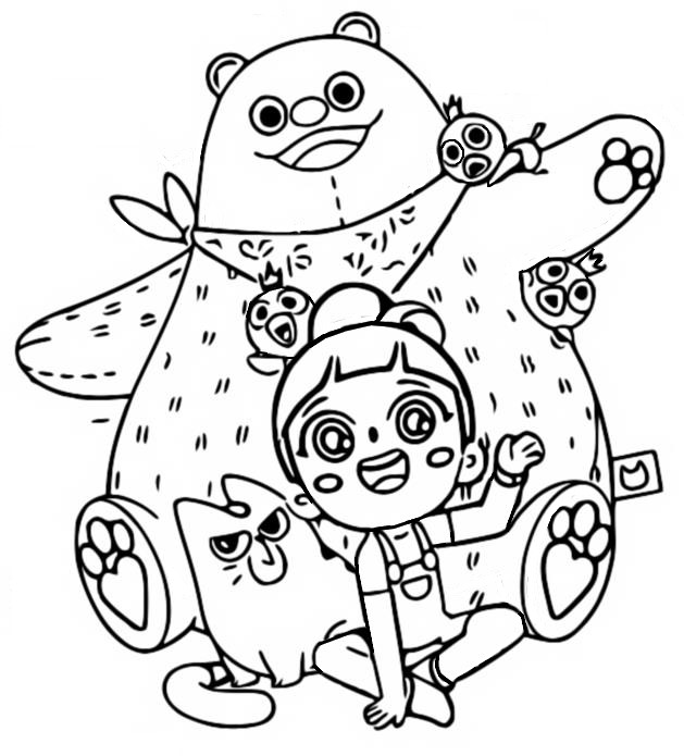 Coloriage Pink Bear - Luo Bao Bei