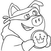 Coloriage Le cochon avec une pièce d'or