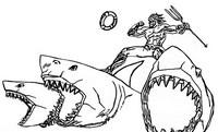 Coloriage Aquaman - Requins
